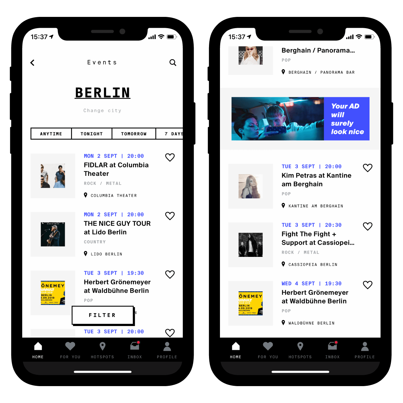 Standard mobile banners